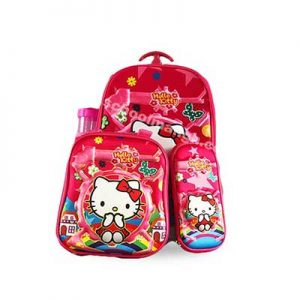 Hello-Kitty-Back-Pack-with-a-lunch-box,-pencil-case-and-a-water-bottle