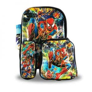 Spiderman-Back-Pack-with-a-pencil-case,-lunch-box-and-a-water-bottle-back-pack